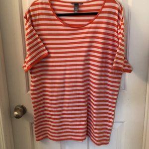 H&M shortsleeve tunic XL orange/White stripe